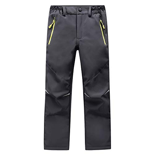 LANBAOSI Kids Boys Girls Waterproof Outdoor Hiking Pants Warm Fleece Lined Gray 12