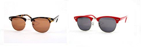 Classic Half Frame Rim Inspired Clubmaster Wayfarer Sunglasses P1233 (2 Pcs Tortoise-Brown Lens & Red-Smoke - Wayfarer Inspired