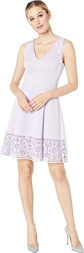VINCE CAMUTO Women's Scuba Sleeveless Fit & Flare Dress w/Cut Out Back & Laser Cut Hem Lavender 8