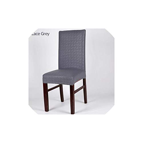 2PCS Home Chair Cover Wedding Decoration Stretch PU Leather Spandex Dining Chair Slipcovers,Lace Grey,2pcs