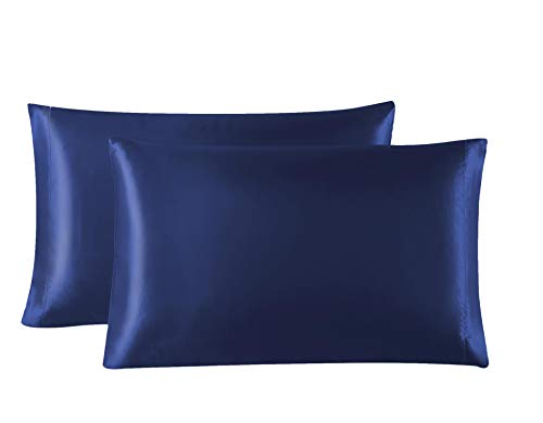 Lovescabin Two-Pack Satin Pillowcases Set for Hair and Skin King Size 20x40 Navy Blue Pillow Case with Envelope Closure (Anti - Pillowcases King Blue