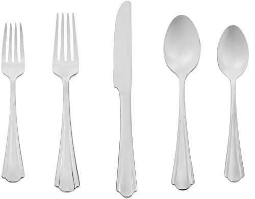 AmazonBasics 20-Piece Stainless Steel Flatware Set with Scal