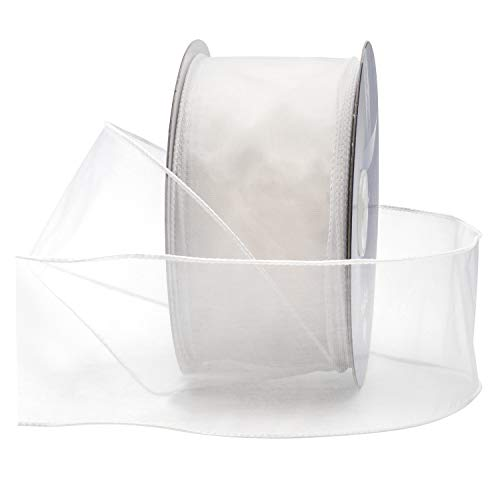 Satin Wire Ribbon - White Organza Wired Sheer Ribbon 2.75