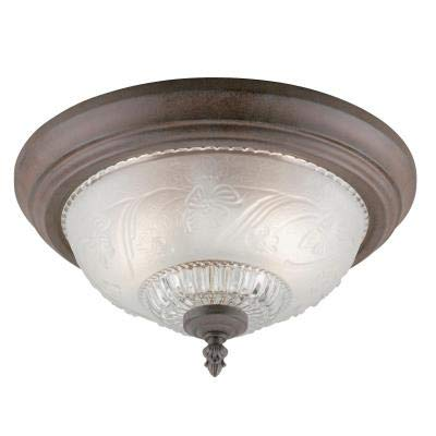 Two-Light Indoor Flush-Mount Ceiling Fixture Sienna Finish with Embossed Floral and Leaf Design Glass ()