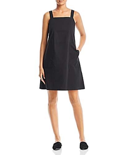 Eileen Fisher Black Organic Cotton Stretch Poplin Tank K/L Dress Size Large $178