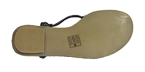 Dora Sandals Womens 3 8 Size Strappy Leather Diamante Lora Faux Shoes UK Black ZwRqnftd