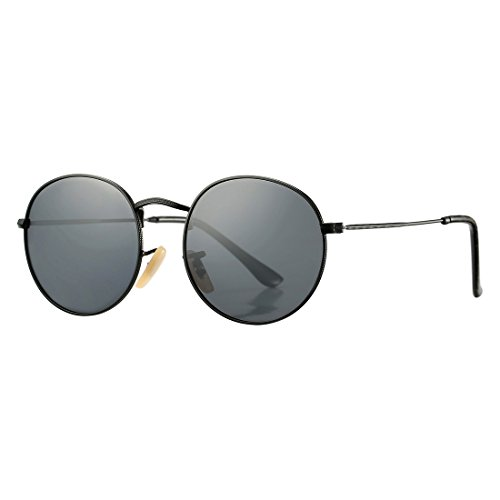 COASION Retro Metal Frame Round Polarized Sunglasses Men Women (Black Frame/Grey Lens, - Large Head Best For Sunglasses