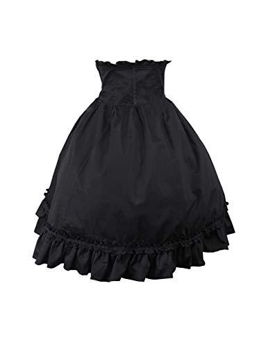 Antaina Black Cotton Queen Gothic High-Waisted Ruffled Princess Lolita Skirt,XXL