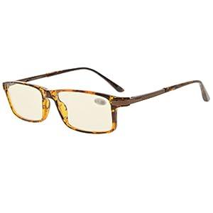 Eyekepper Quality TR90 Frame Noline Bifocal Progressive Multifocus Glasses 3 Levels Vision Reading Glasses Anti Glare (Yellow Tinted Lenses, Tortoise), Optical center about +1.15 (label is +1.50)