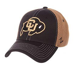 CampusHats University of Colorado CU Buffaloes Buffs Black Kahki Mesh Rally 2 Adult Mens/Womens/Boys Flex Fitted Baseball Hat/Cap Size XL -