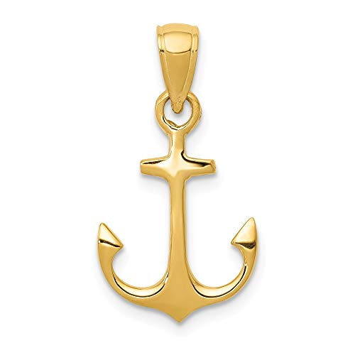 14k Yellow Gold Admiralty Anchor Pendant