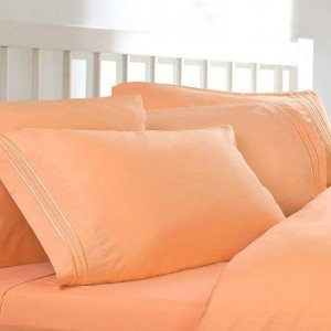 Charming Split King Sheets, Color: Peach Orange, 1800 Thread Count Egyptian Bed  Sheets,