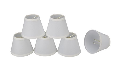 - 32059-6 Small Hardback Empire Shape Chandelier Clip-On Lamp Shade Set (6 Pack), Transitional Design in Off White, 5