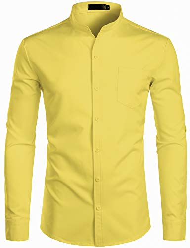 - ZEROYAA Men's Banded Collar Slim Fit Long Sleeve Casual Button Down Dress Shirts with Pocket ZLCL09 Lemon Small