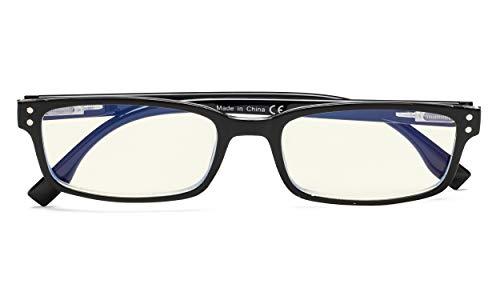 UV Protection,Anti Blue Rays,Reduce Eyestrain,Computer Reading Glasses Men Women(Black-Clear,Amber Tinted Lenses) +1.0