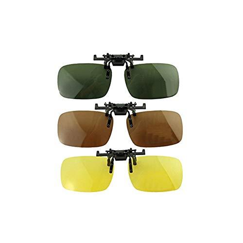 3 PCS Unisex UV400 Polarized Lens Frame-Less Rectangle Lens Flip Up Clip on Prescription Sunglasses Eyeglass Night Vision ()