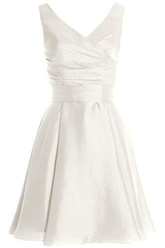 MACloth Women Pleated Taffeta Short Cocktail Dress Bridesmaid Wedding Party Gown Marfil
