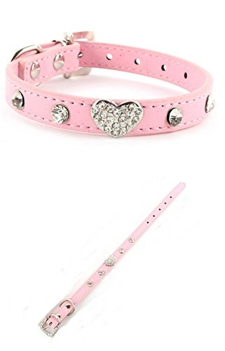 Optimal Popular Pet Collar Size L Small Puppy Diamante Puppy Leather Color Pink