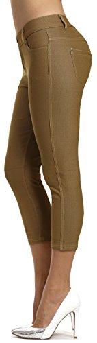 Prolific Health Women's Jean Look Jeggings Tights Slimming Many Colors Spandex Leggings Pants S-XXXL (Medium, Khaki - Tight Womens Pants