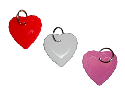 (Key Ring Fob, Key Ring ID, Lace Heart Shaped Key Ring Marker- 1 1/4