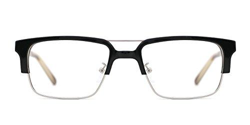 TIJN Men's Scholarly Rectangular Frame Two Bridge - Prescription Browline Glasses