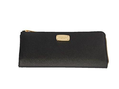 Michael Kors Jet Set Travel Wristlet Wallet Black Leather (35T6GTVE3L) by Michael Kors