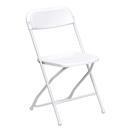 Leather Oak Folding Chair - Flash Furniture Hercules Series 800-Pound Premium Plastic Folding Chair, White