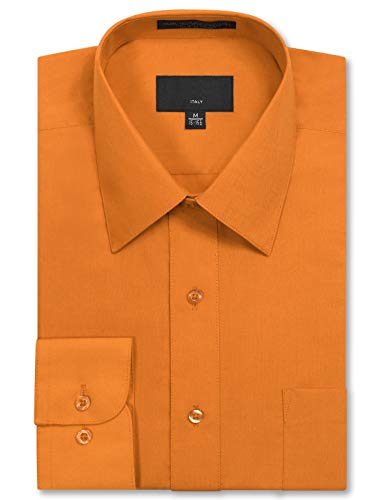 JD Apparel Mens Long Sleeve Regular Fit Solid Dress Shirt 15-15.5 N 34-35 S Orange,Medium
