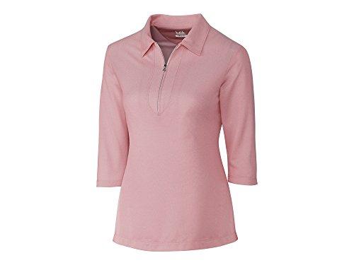 (Cutter & Buck LCK08643 Womens Blaine Oxford 3/4 Sleeve Zip Polo, Cardinal Red/White-L)