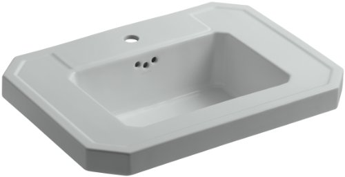 Kohler K-2323-1-95 Fireclay Ceramic Pedestal Rectangular Bathroom Sink, 29.88 x 12 x 23.5 inches, Ice Gray - Fireclay Lavatory Console