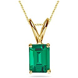 8.65-9.42 Cts of 16x12 mm AAA Emerald-Cut Russian Lab Created Emerald Solitaire Pendant in 14K Yellow Gold