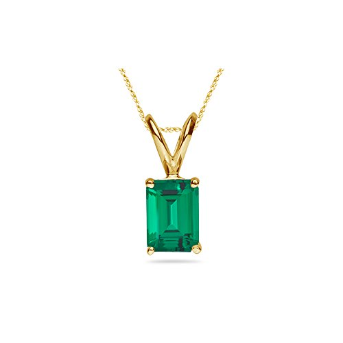 2.57-3.81 Cts of 10x8 mm AAA Emerald Russian Lab Created Emerald Solitaire Pendant in 14K Yellow ()