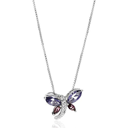 (Crystaluxe Dragonfly Pendant Necklace with Swarovski Crystals in Sterling Silver, 18