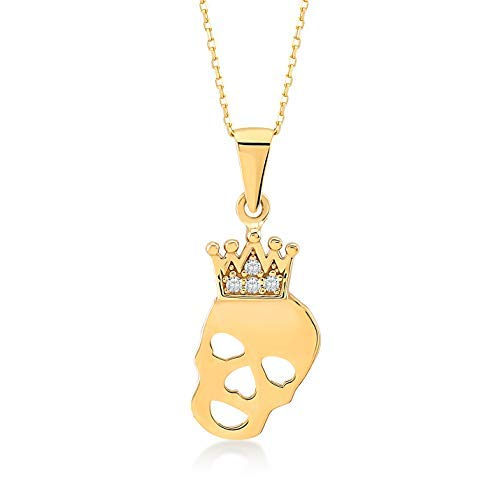 GELIN 14k Yellow Gold CZ Skull with Crown Pendant Necklace for Women, 18