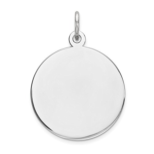 Engravable Disc Charm (Sterling Silver Engravable Round Disc Charm (0.8in))