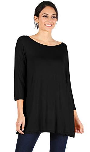 Simlu Womens Tunic Tops for Leggings Reg and Plus Size 3/4 Sleeve Tunic Shirt
