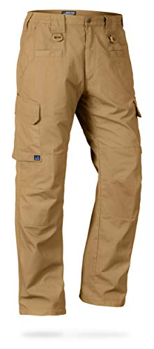 LA Police Gear Men's Water Resistant Operator Tactical Pant with Elastic Waistband C-Brown-36 x 34 ()