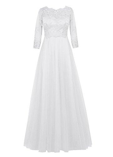 Miranda's Bridal Women's Long Sleeve Scoop Neck Applique A Line Prom Dress Ivory US6 - Miranda Ivory Prom Dress