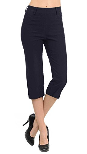 VIV Collection New Women's Straight Fit Trouser Capri Pants (Medium, Navy) (Best Fabric For Women's Pants)