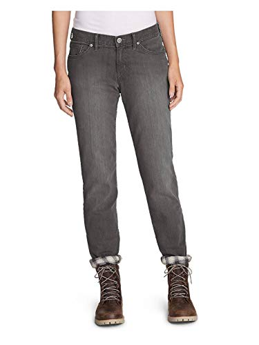 Eddie Bauer Women's Boyfriend Flannel-Lined Jeans, River Rock Tall 10