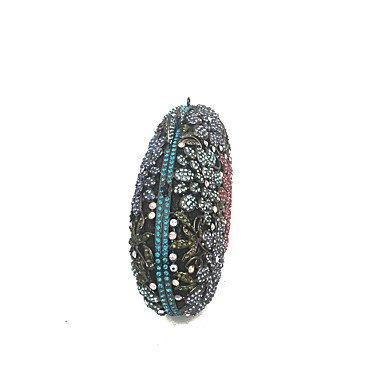 KYS Bolso de embrague del metal de la flor de la señora cubierto por los diamantes para la tarde / acontecimiento / partido / cóctel / cena , rainbow RAINBOW