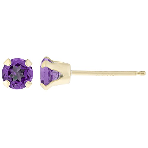 .20 CT Round 3MM Purple Amethyst 14K Yellow Gold Stud Birthstone ()