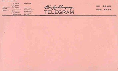 1938 Ford Blank Telegram