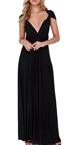 Little Black Convertible Dress (Sexyshine Women's Infinity Backless Gown Dress Multi-Way Wrap Halter Cocktail Dress Bandage Bridesmaid Long Dress (BL,S))