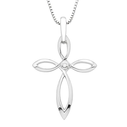 (Boston Bay Diamonds 925 Sterling Silver .01 cttw Diamond Accent Open Twist Cross Pendant Necklace, 18