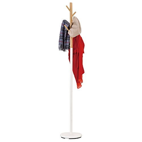 Modern Tree Branch Style Wood Coat Rack Stand w/ White Round Metal Base by MyGift (Image #1)