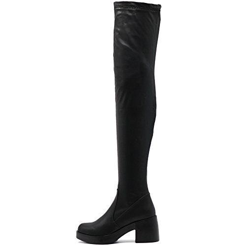 Ollio Women Shoe Span Stretch Faux Leather Platform Thigh-High Zip Up Long Boots TWB01021(8.5 B(M) US, Black) Black Leather Thigh High Boots
