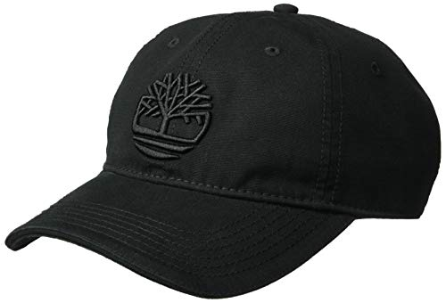 Timberland Men's Cotton Canvas Baseball Cap, Black/Logo, One Size (Canvas Logo Cap)