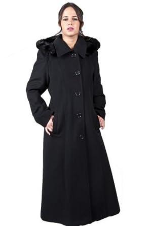 Womens Wool Cashmere Hooded Long Winter Full Length Coat: Amazon ...