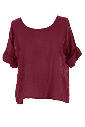 Crop Burgundy Size Linen Ladies Top Cotton Plain Lagenlook One TEXTURE Women Italian Blouse H7aB0q